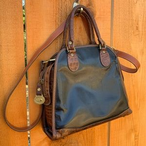 Brahmin Black Brown Leather Crossbody Satchel